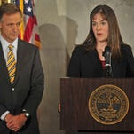 Gov. Bill Haslam, left, with Commissioner of Education Candice McQueen.