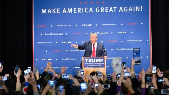 Donald Trump speaks during a campaign stop at Farmington