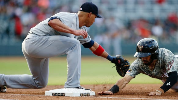 Colorado Springs first baseman Ivan de Jesus pulls