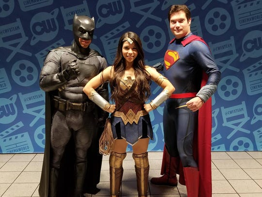 "Batman, Wonder Woman and Superman suited up for the ""Justice League"" movie premiere at Cinemaworld in West Melbourne."