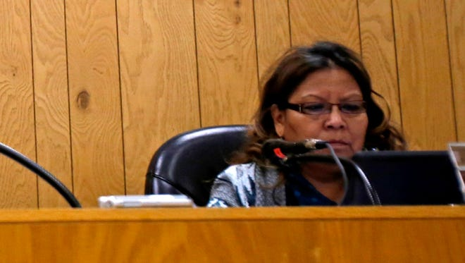 Board member Ruthda Thomas participates in a public meeting at the Central Consolidated School District Shiprock Administration Complex on Nov. 12.