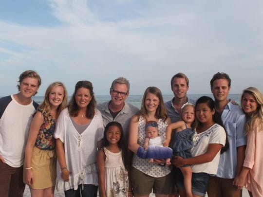 From left: Caleb and Julia Chapman; Mary Beth, Stevey Joy, Steven Curtis Chapman; Emily, Della, Tanner and Eiley Richards; Shaoey Chapman, Will and Jillian Chapman