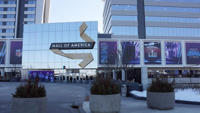 A general view of the North atrium exterior at the Mall of America, the site of the Super Bowl LII media center.
