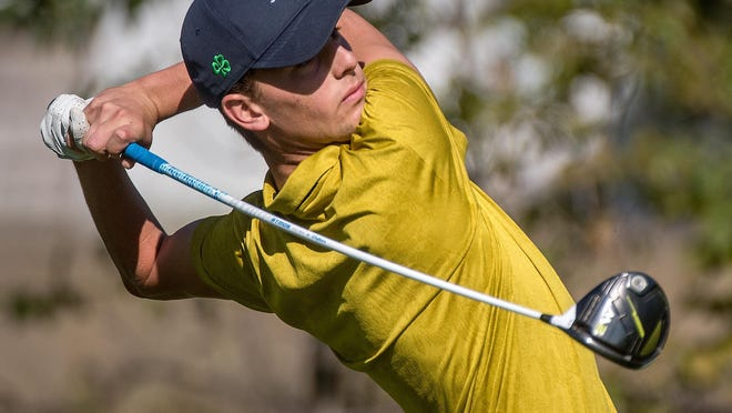 Peoria Notre Dame's Mikey Wales tees off on No. 2 during the Class 2A Richwoods Regional on Monday, Oct. 7, 2019 at Kellogg Golf Course in Peoria.
