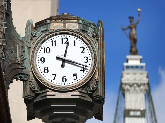 The Ayres Clock, repaired after a fundraising campaign was ceremonially re-started, Sunday, November 20, 2016.
