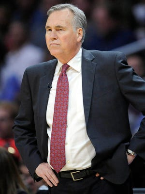 Houston Rockets head coach Mike D'Antoni watches game action against the Los Angeles Clippers during the first half at Staples Center.