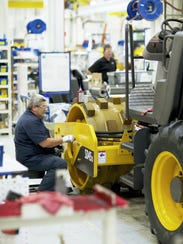 A Volvo soil compactor produced at Shippensburg is among the products exported from Franklin County.