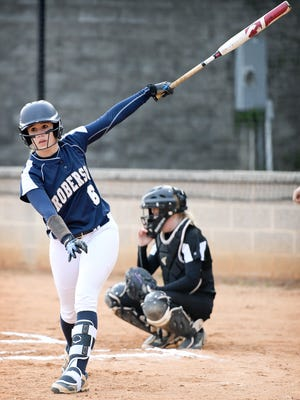 Roberson freshman Taylor Stingel stops out of batter's box to reset herself during a game against Asheville on Tuesday, March 27, 2018.