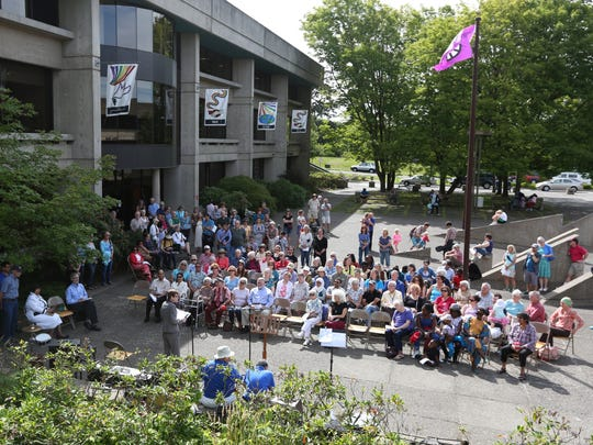 An overflow crowd turns out for Salem Welcomes Refugees, a celebration of the local Refugee Resettlement Program, on Sunday, June 18, 2016, at the Peace Plaza in Salem.
