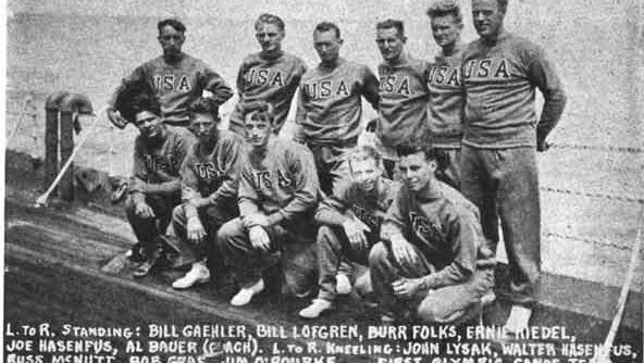 A photograph of the U.S. canoe team in the 1936 Berlin Olympics, including Yonkers residents John Lysak and Jim O'Rourke.