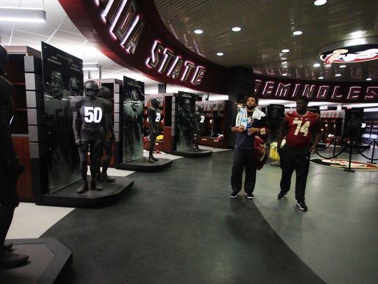 The locker room at Doak Campbell Stadium.