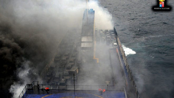 The ferry Norman Atlantic burns Dec. 28 adrift off Albania.