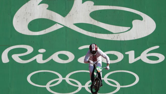Latvia's Maris Strombergs is after his third straight gold in BMX cycling.