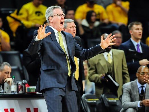Iowa Hawkeyes head coach Fran McCaffery reacts during