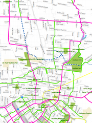 Proposed bike lanes in the northside area.