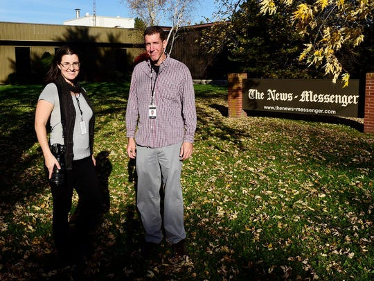 Photojournalist Molly Corfman, left, and reporter Daniel Carson with The News-Messenger and News Herald.