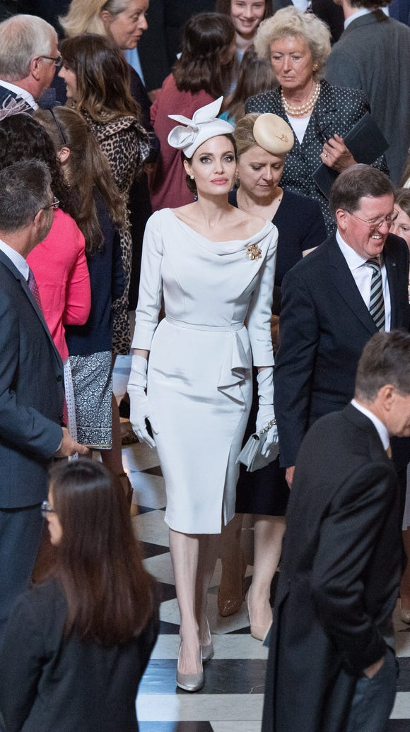 A full-length view of Angelina Jolie's Ralph & Russo