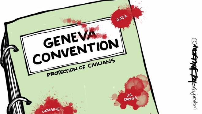 The failure of the Geneva Convention to protect civilians.