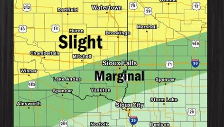National Weather service severe weather risk for Saturday