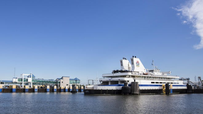 The Cape May-Lewes Ferry sits docked in Cape May along the Cape May Canal.