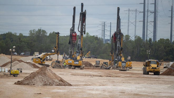 Work is well underway on the Tesla factory site in southeastern Travis County. The company in August purchased an additional 381 acres for the factory, which will manufacture electric vehicles.