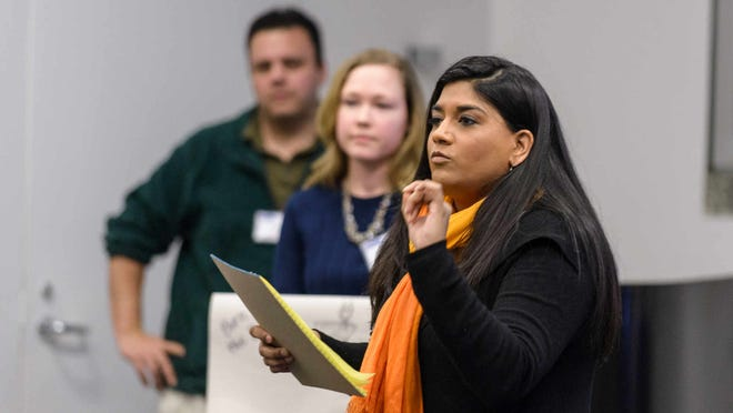 Mona Parikh presents the Start It Up Delaware team's pitch to the audience and judges at the 2015 Idea Challenge.