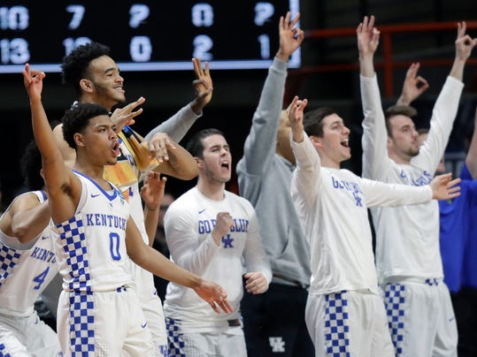 Players on the Kentucky bench react during the second half of a second-round game against Buffalo in the NCAA men's college basketball tournament Saturday, March 17, 2018, in Boise, Idaho. Kentucky won 95-75. (AP Photo/Ted S. Warren)