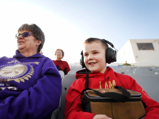 Marsha Wade of Manchester Township and her grandson, Wade Stocker, 6, watch as cars take the track during a Test and Tune practice night at Susquehanna Speedway. The regular racing season opens Saturday.