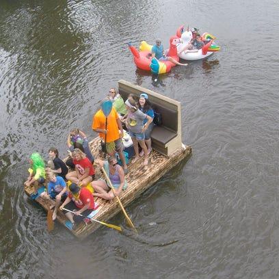 A homemade raft and inflatable cruise down the Kalamazoo