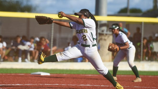 John F. Kennedy Islanders pitcher Pillar George (2) during the Independent Interscholastic Athletic Association of Guam Girls' Softball Championship game on March 10, 2018.