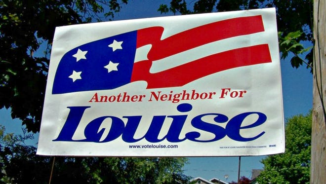 A Louise Slaughter sign from a past campaign