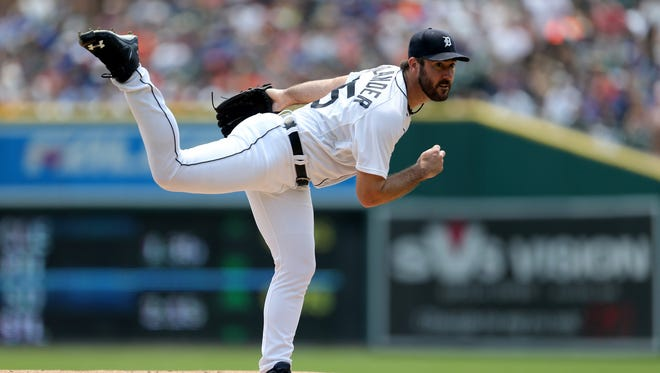 The Detroit Tigers Justin Verlander pitches against the Toronto Blue Jays during first inning action on Sunday, July 5, 2015 at Comerica Park in Detroit Michigan.