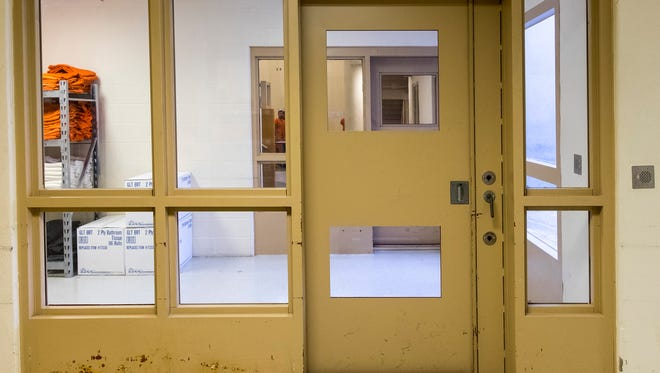 The door of the A Unit at the St. Clair County Jail, where the jail houses detainees. The county is approving a five-year contract with the U.S. Department of Homeland Security ICE division for housing ICE detainees.