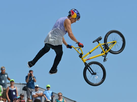 Daniel Dhers competes in the BMX Park Final at Dew Tour Sunday in Ocean City.