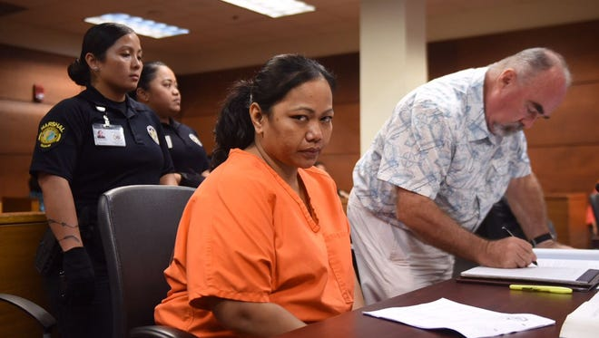 Roxanne Hocog appears at the Superior Court of Guam for a magistrate hearing in connection to a prison drugs case on Friday, Aug. 25, 2017.
