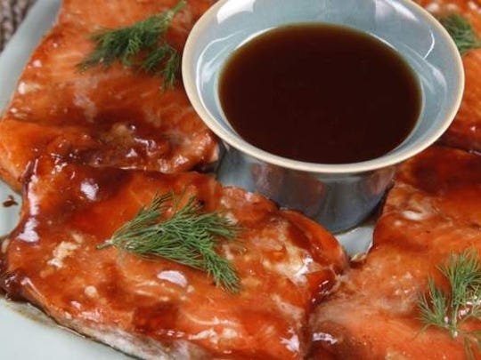 Charles Kallbreier's barbecued salmon with bourbon sweet and sour sauce