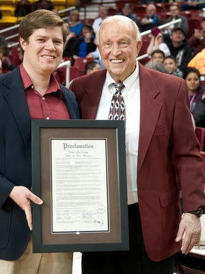 Legendary NMSU basketball coach Lou Henson was presented a proclamation from Dona Ana county commissioner Ben Rawson proclaiming Saturday Lou Henson Day. The Aggies beat Texas-Rio Grande Valley 92-68 at the Pan American Center.