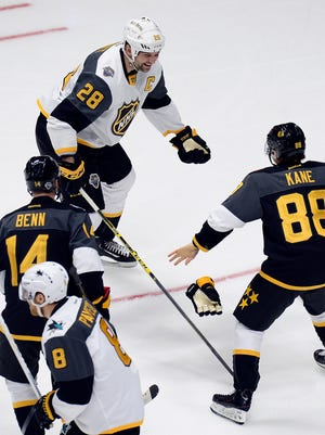 Pacific Division forward John Scott (28) pretends to fight with Central Division forward Patrick Kane (88), of the Chicago Blackhawks, during an NHL hockey All-Star semifinal round game Sunday in Nashville, Tenn. The Pacific Division team won 9-6.
