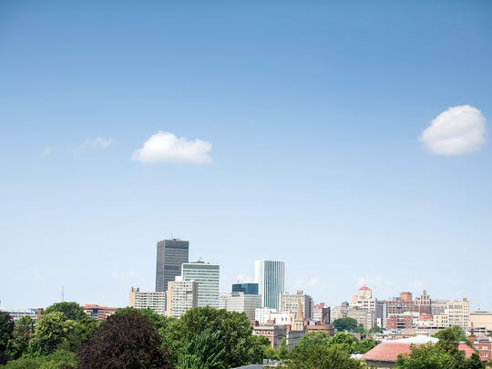 The downtown skyline, as seen from Hattie's.