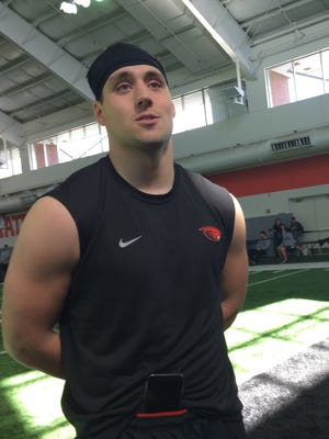 Former Oregon State running back Ryan Mall meets with the media after OSU's Pro Day at the Truax Center on March 16, 2018.