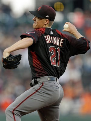"""""""He hits his spots and it feels like he never makes a mistake,"""" Paul Goldschmidt said of D-Backs teammate Zack Greinke after their 2-0 win over the Giants."""