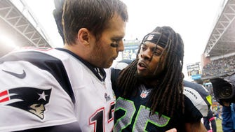 Seahawks CB Richard Sherman's star took off after his first encounter with Patriots QB Tom Brady, left, in 2012.