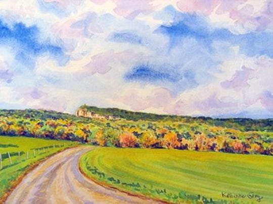 """Lenape Lane,"" a watercolor by Katherine Gray, is part of her exhibit at Ulster Savings Bank in New Paltz through Nov. 10."