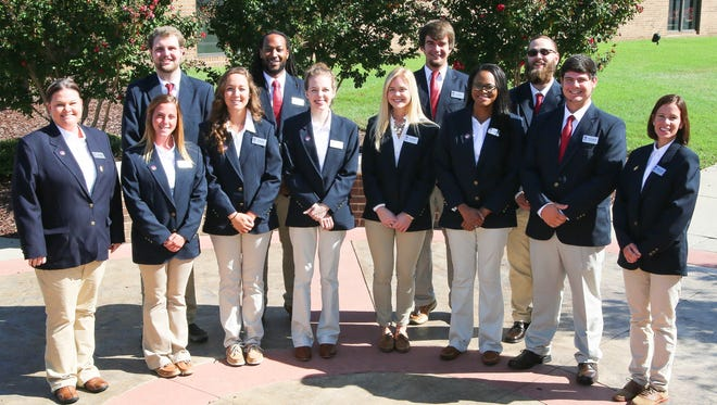The 2016-2017 Vol State President's Ambassadors from left to right: Back Row: Joey Looney, Buffalo Valley; Nicholas Crumble, Murfreesboro; Alex Hill, Lafayette; and Ian Flowers, Livingston. Front Row: Shannon Cherry, Red Boiling Springs; Diedre Miller, Gainesboro; Dallas Eidson, Cottontown; Marissa Edwards, Goodlettsville; Emily Williams, Westmoreland; Crystal Sloss, Gallatin; Rance Muirhead, Hartsville; and Pamela Lockhart, Hendersonville.