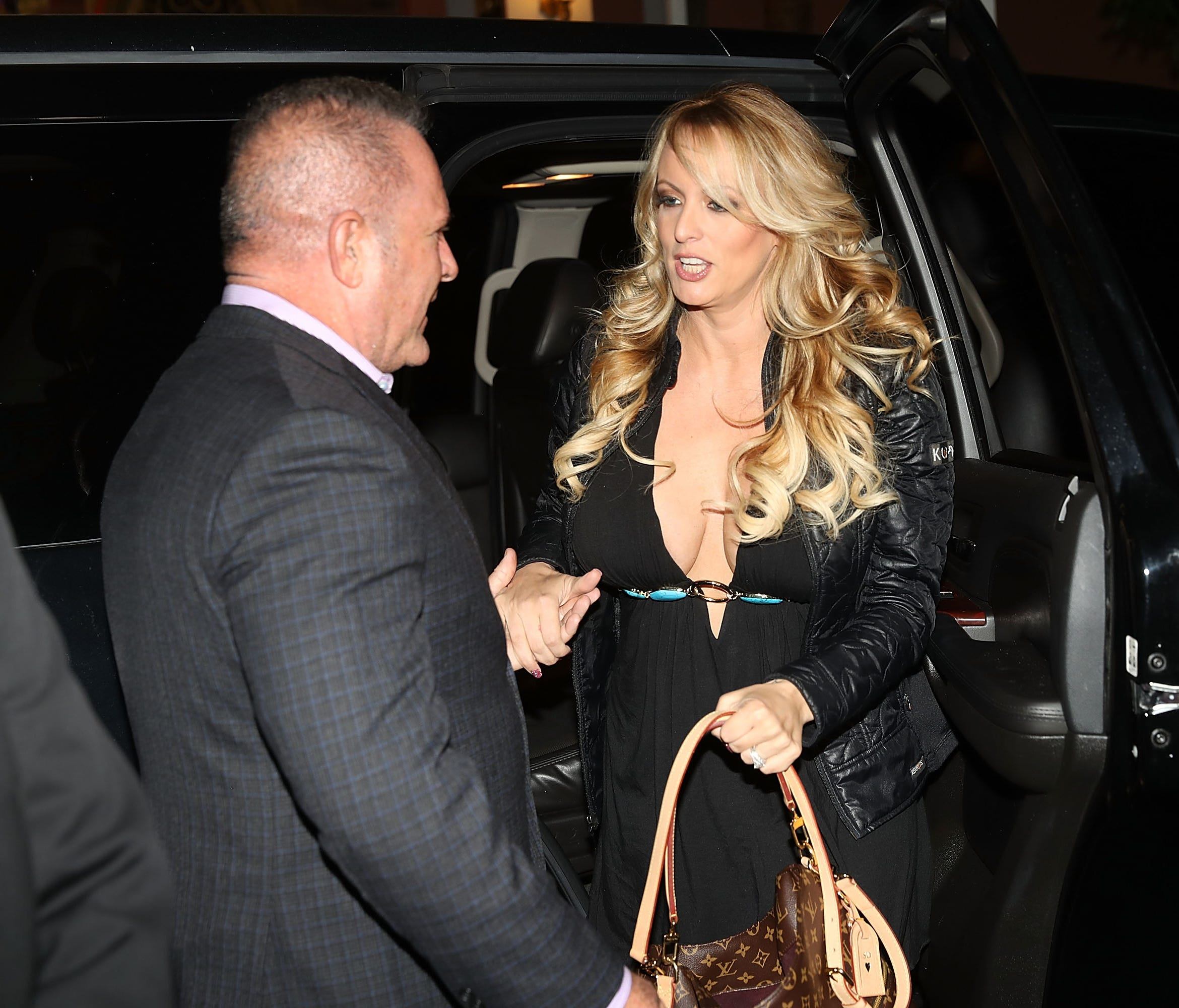 Stormy Daniels arrives to perform at the Solid Gold Fort Lauderdale strip club on March 9, 2018 in Pompano Beach, Fla.