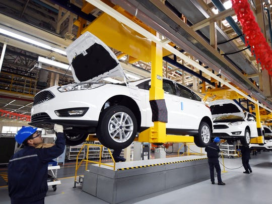The first Ford Focus rolled off a production line in northeast China's Heilongjiang province on Wednesday, February 22, 2017. The factory, in Harbin, capital of Heilongjiang, has an annual production capacity of 200,000 and is Changan Ford's fifth in the country.