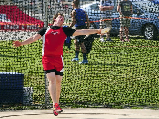GREG HOLDER   FOR GAMETIMEPA.COM Fannett-Metal's Tom Peppernick prepares to launch the discus at the Jack Roddick Invitational on Saturday. Peppernick took gold in both the discus and shot put.