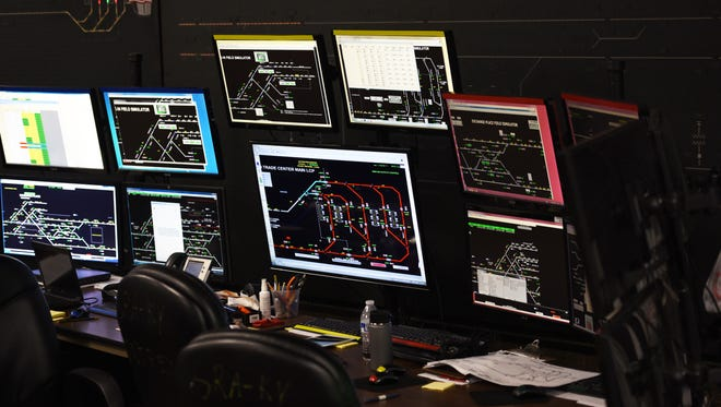 Photo of screens used for PTC (Positive Train Control) Testing Program are seen at PATH Headquarters at Journal Square in Jersey City on November 29th, 2017.