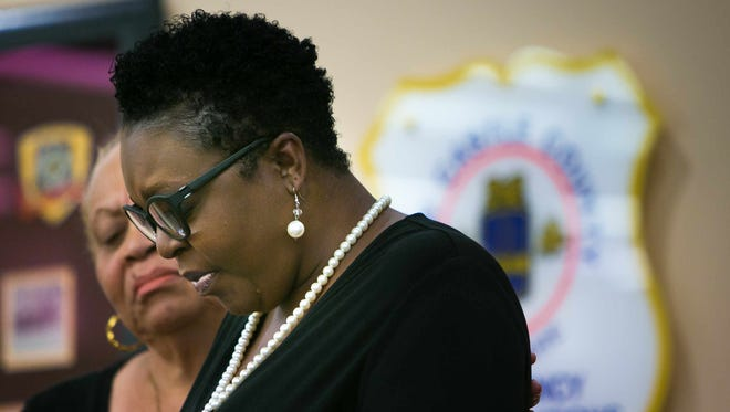 Terry Evans, mother of shooting victim Malcolm Evans, speaks at a press conference at New Castle County Police headquarters in Minquadale on Wednesday. Malcolm Evans, a Delaware State University student, was killed on July 9.