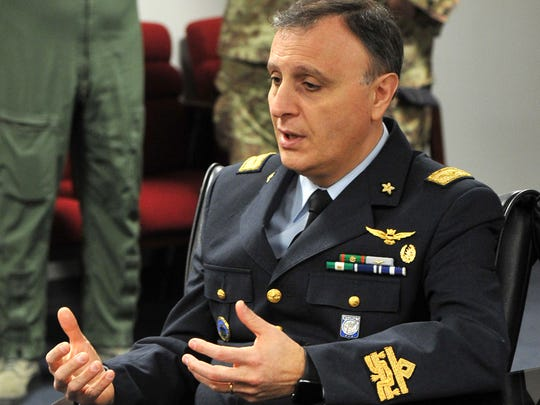 Brig. Gen. Vincenzo Nuzzo, Steering Committee Chair from Italy, answered media questions Friday morning after the committee finished a weeklong series of meetings and announced Romania as a new partner in the ENJJPT program.